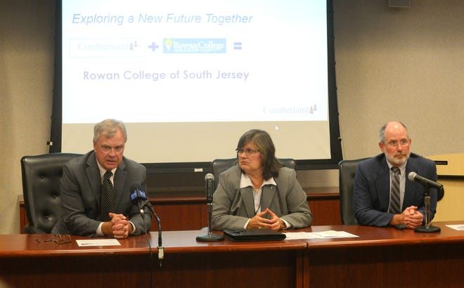 Rowan College at Gloucester County president Frederick Keating (left), Cumberland County College president Shelly Schneider and merger liaison Robert Clark, discuss details of a potential merger on Wednesday, September 5.