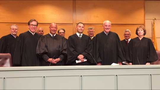 Cumberland County Superior Court held its annual 'Opening Day of the Courts' event on Tuesday. Front row, left to right: Judges Mark Cimino, Robert Malestein, Benjamin Telsey, Harold Johnson, Linda Lawhun Back row: Judges Michael Ostrowski, Michael Silvanio, Joseph Chiarello, Gary Wodlinger, and Darrell Fineman.