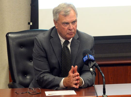 Rowan College at Gloucester County president Frederick Keating speaks during a press conference Wednesday at Cumberland County College.