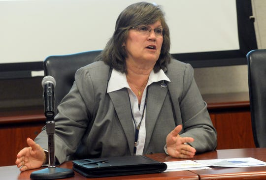 Cumberland County College interim president Shelly Schneider speaks during a press conference Wednesday regarding a possible merger with Rowan College at Gloucester County.