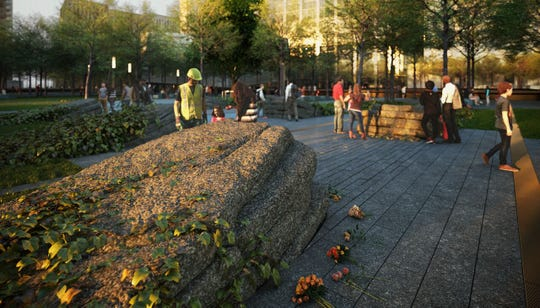 A rendering of the Memorial Glade planned for the September 11 Memorial and Museum site.