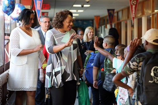 East Ramapo Central School District Superintendent Deborah Wortham greets students with Principal Jennifer Wilmot on the first day of school at Kakiat Elementary School Sept. 5, 2018.