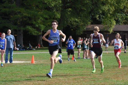 Bronxville's Alex Rizzo heads to finish at Section 1 Coaches Invitational at Bowdoin Park.