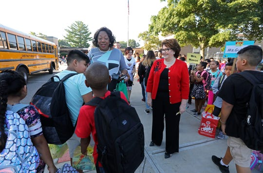 East Ramapo Central School District Superintendent Deborah Wortham, left, State Education Commissioner MaryEllen Elia welcome students on the first day of school at Kakiat Elementary School Sept. 5, 2018.