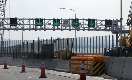 The electric directional signs are tested on the Westchester bound side of the new Gov. Mario M. Cuomo bridge, Sept. 5, 2018.