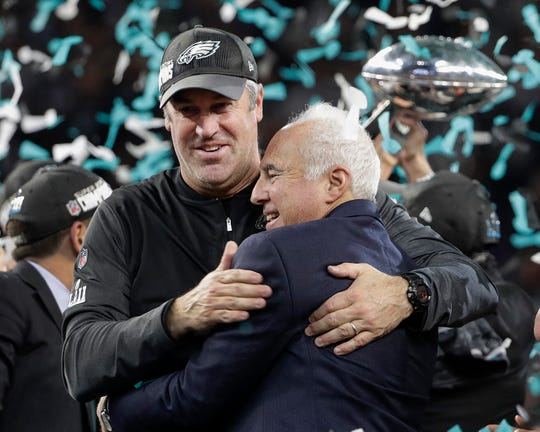 FILE - In this Feb. 4, 2018, file photo, Philadelphia Eagles owner Jeffrey Lurie, right, and head coach Doug Pederson celebrate after the NFL Super Bowl 52 football game against the New England Patriots, in Minneapolis.