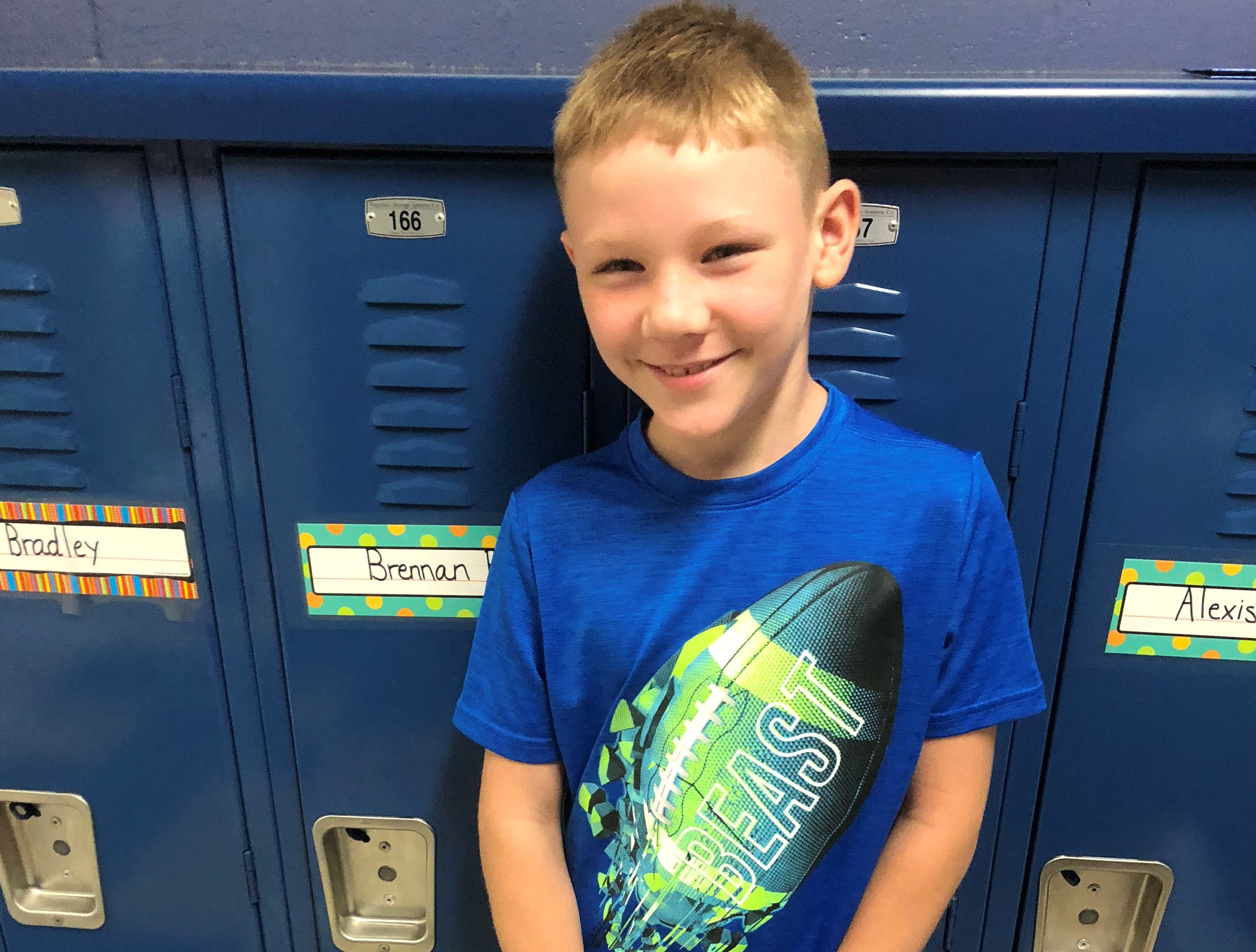 Brennan is in third grade at Madison Elementary School in Marshfield.