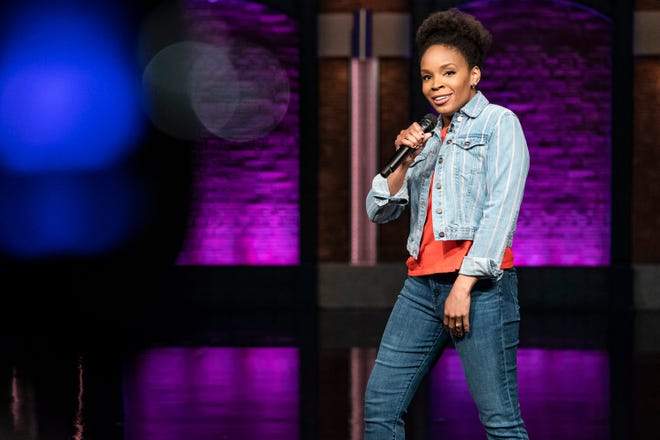 Amber Ruffin during a sketch on Late Night with Seth Meyers.