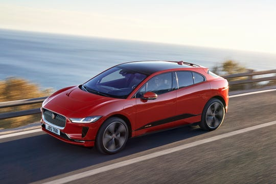 This undated photo provided by Jaguar Land Rover North America shows the 2019 Jaguar I-Pace, a fully electric small SUV that makes a compelling alternative to Tesla's electric lineup. (Courtesy of Jaguar Land Rover North America via AP)