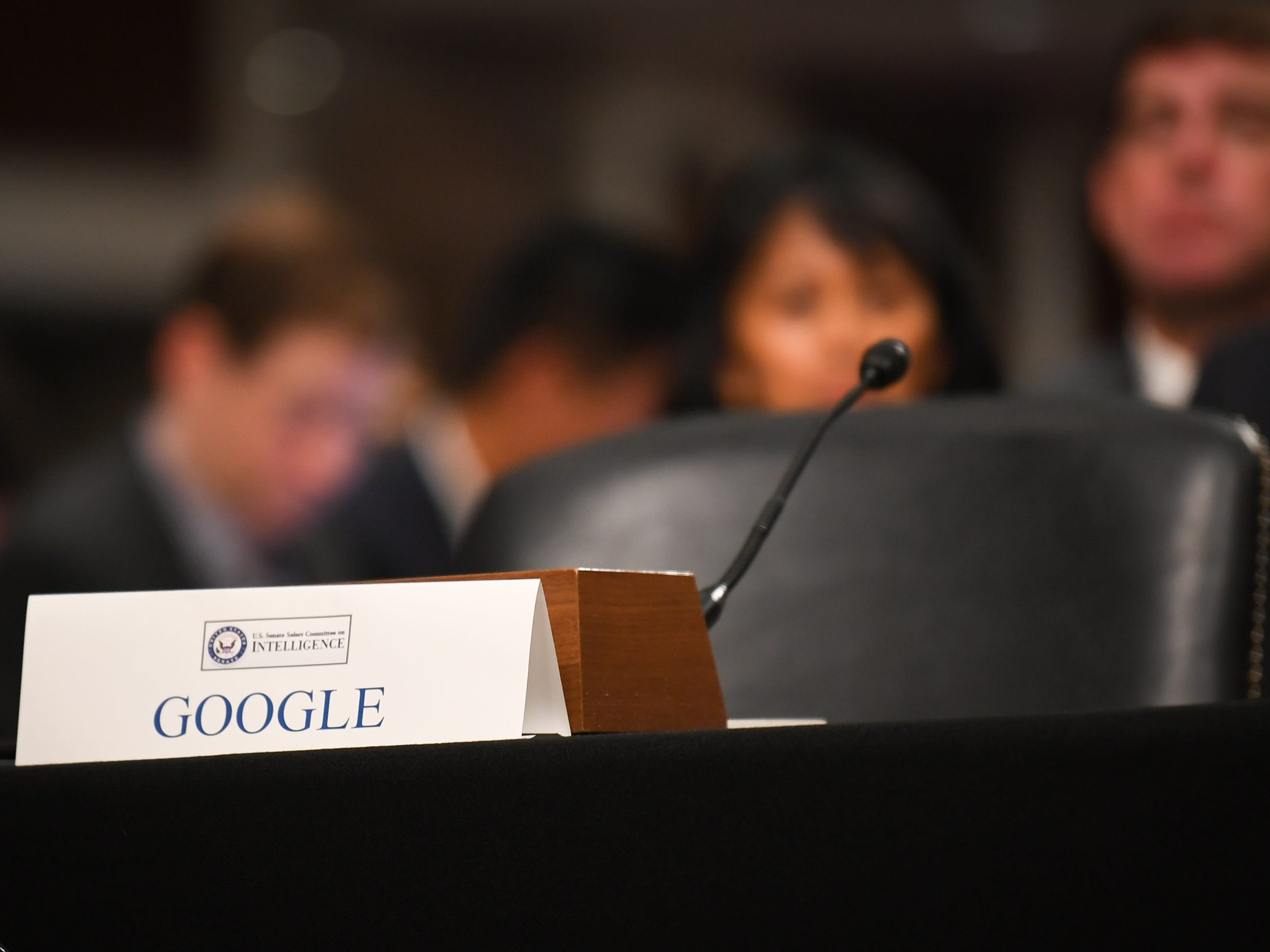9/5/18 9:33:11 AM -- Washington, DC, U.S.A  -- An empty chair and placard for Google in place beside Sheryl Sandberg, chief operating officer of Facebook Inc., and Jack Dorsey, chief executive officer of Twitter Inc., before testimony before the Senate Select Committee on Intelligence during a hearing on Foreign Influence Operations' Use of Social Media Platforms on Sept. 5, 2018 in Washington.  --    Photo by Jack Gruber, USA TODAY Staff ORG XMIT:  JG 137441 Social Media Hea 9/5/ (Via OlyDrop)
