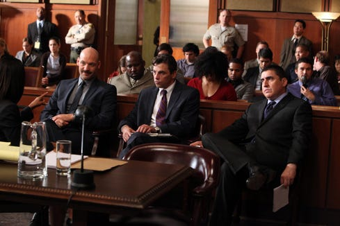 """ORG XMIT: Season:1 Corey Stoll as Det. Tomas """"TJ"""" Jarusalski, left, Skeet Ulrich as Det. Rex Winters and Alfred Molina as DDA Ricardo Morales in the """"Hollywood"""" episode of the television program """"Law & Order: Los Angeles."""""""