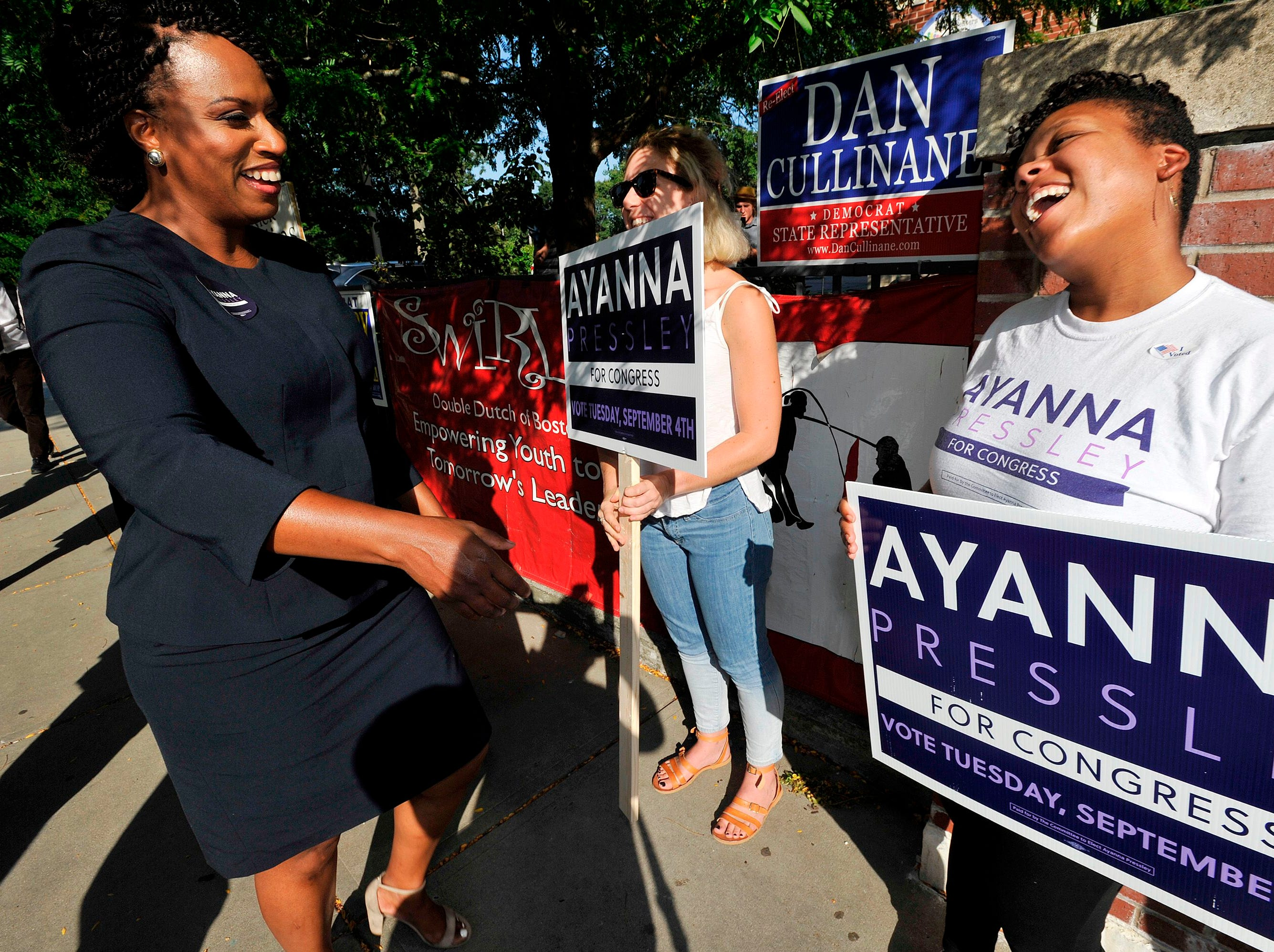 Ayanna Pressley, Democratic candidate for Congress,  greets supporters at the Mildred Middle School and Community Center in Boston, that served as a polling station for primary election on September 4, 2018.