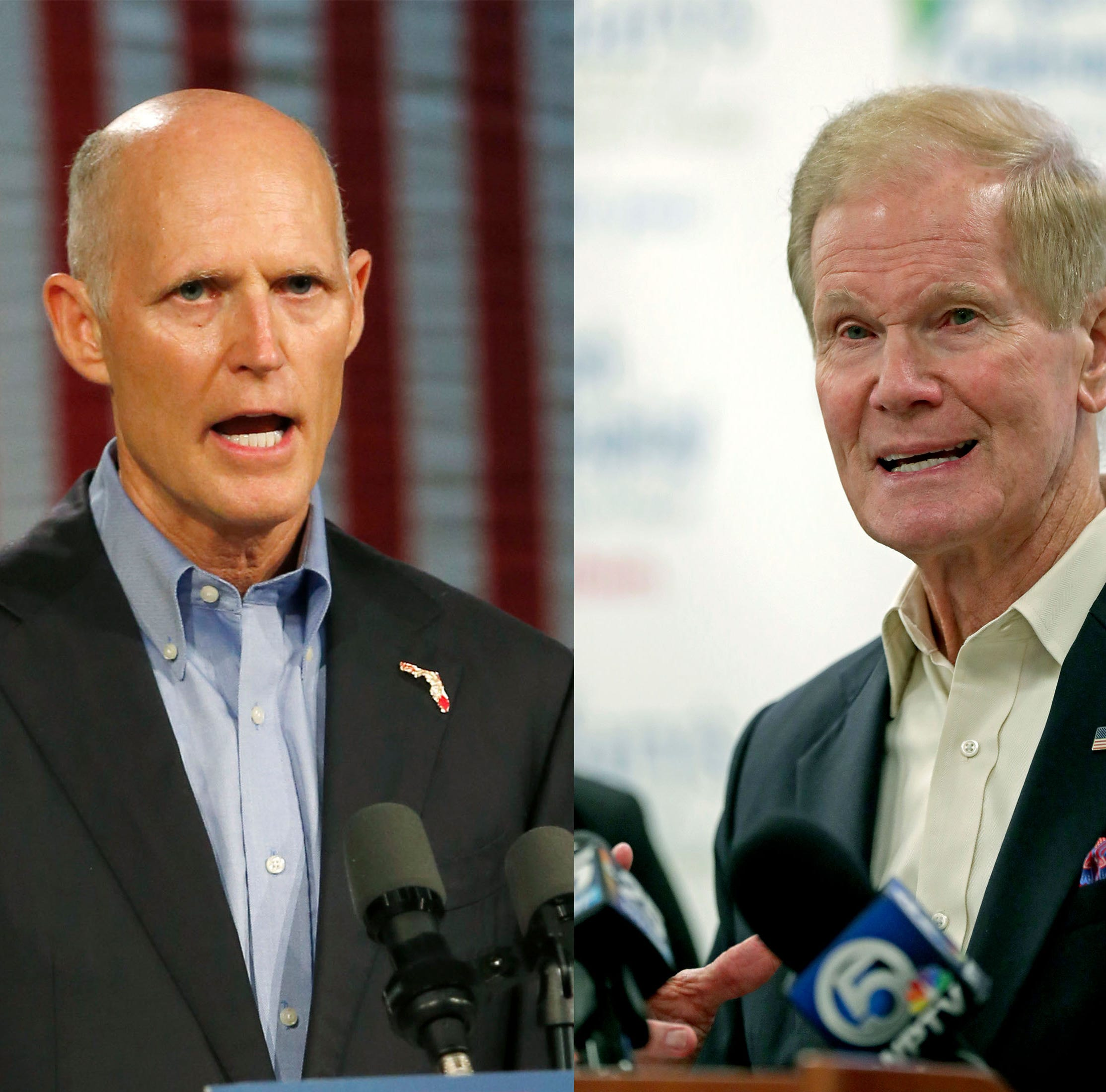 Florida Republican Gov. Rick Scott, left, is hoping to unseat Sen. Bill Nelson, D-Fla. in November