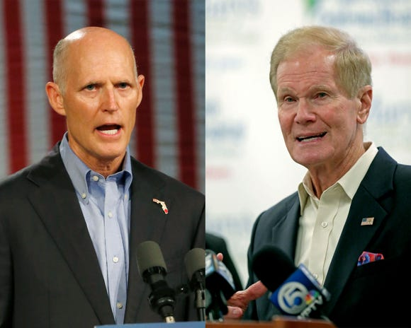 Florida Republican Gov. Rick Scott, left, is hoping to unseat Sen. Bill Nelson, D-Fla. in November