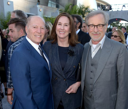 """Frank Marshall, Kathleen Kennedy and executive producer Steven Spielberg arrive at the premiere of  """"Jurassic World: Fallen Kingdom."""""""