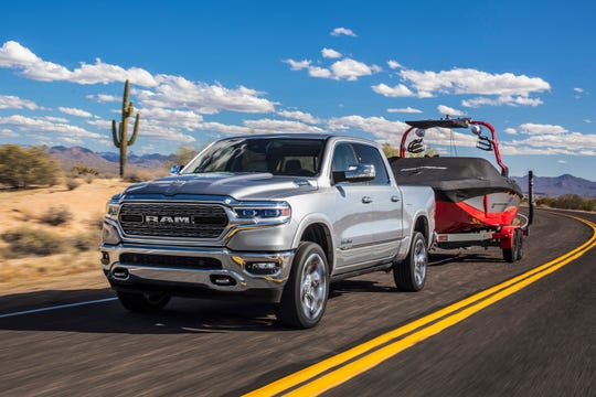 This undated photo provided by Fiat Chrysler Automobiles North America shows the Ram 1500, which was redesigned for 2019 with upgraded technology, and increased towing and hauling ability. (Courtesy of Fiat Chrysler Automobiles North America via AP)