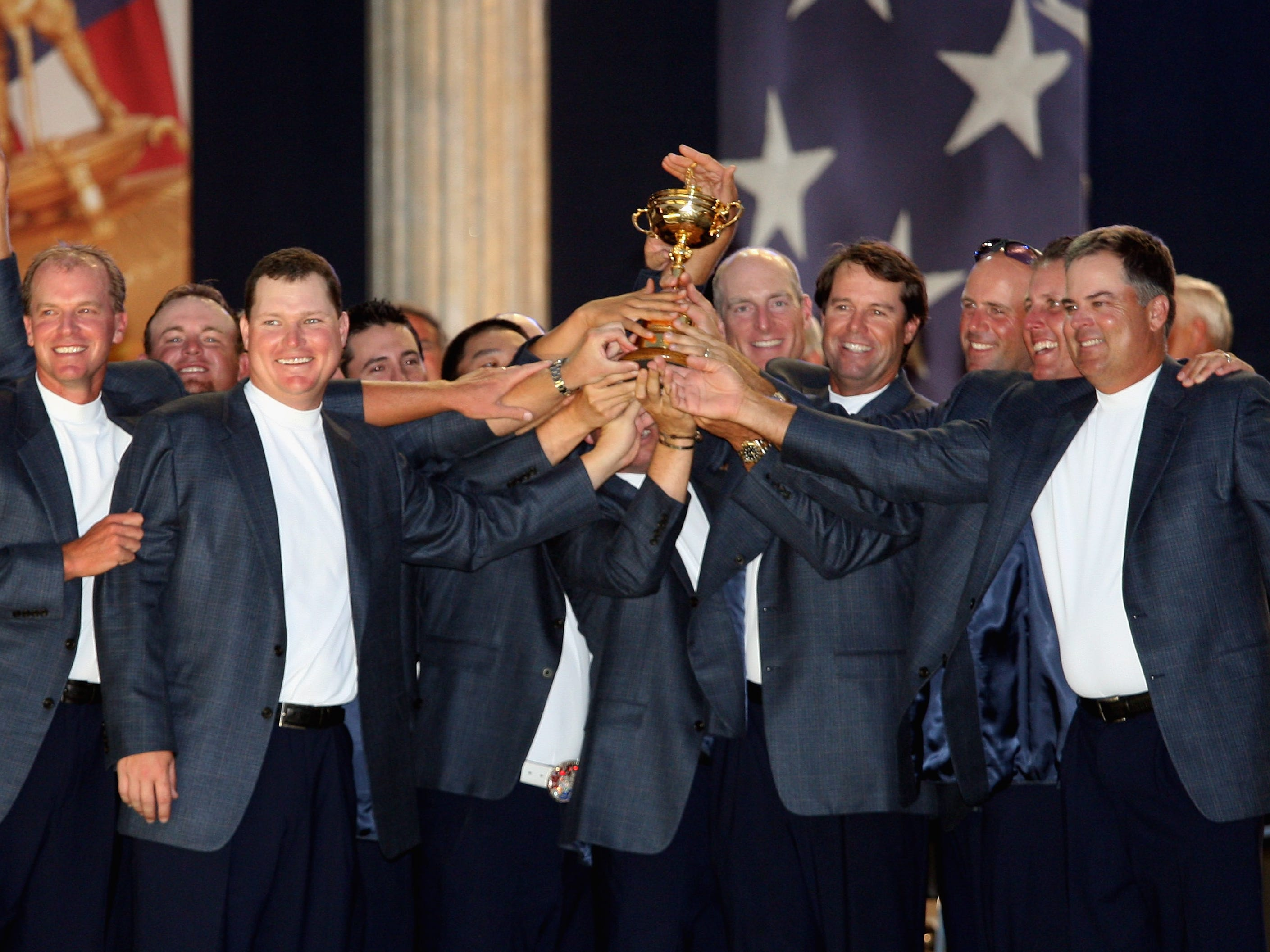 Team USA, 2008: The team poses with the Ryder Cup after winning 16.5 - 11.5.