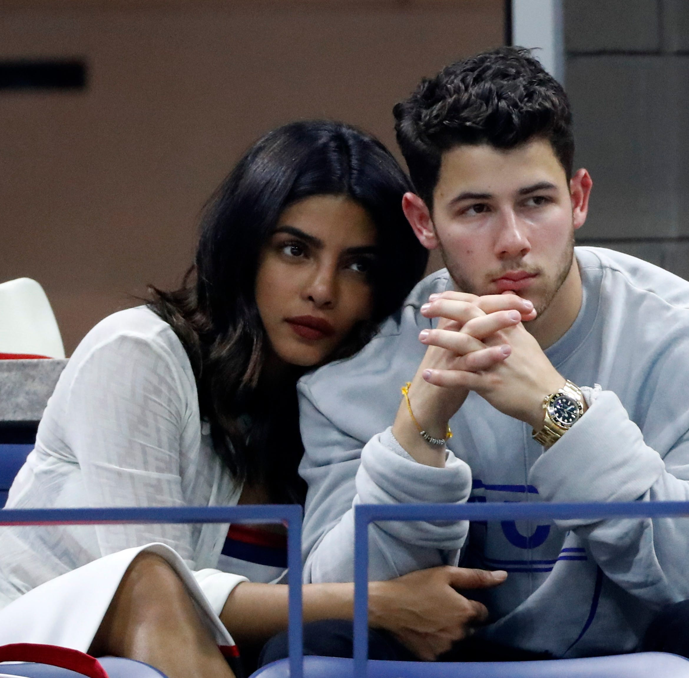 Priyanka Chopra and Nick Jonas at the US Open Tennis Championships in New York on Sept. 4, 2018.