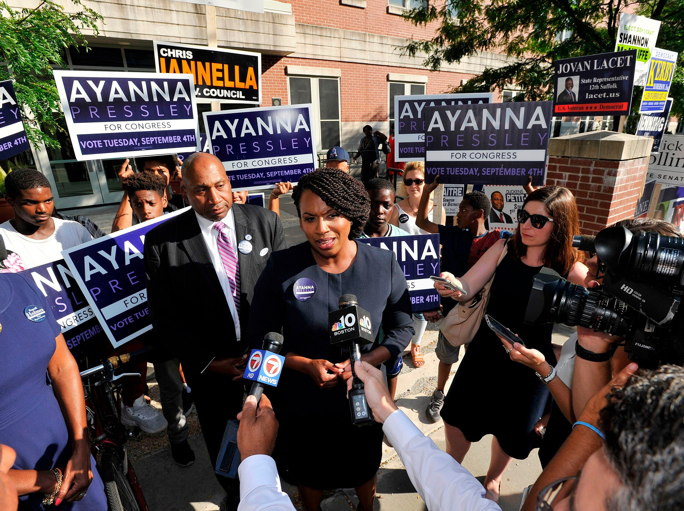 Ayanna Pressley, Democratic candidate for Congress,  addresses the press and takes questions at the Mildred Middle School and Community Center in Boston, that served as a polling station for primary election on September 4, 2018.