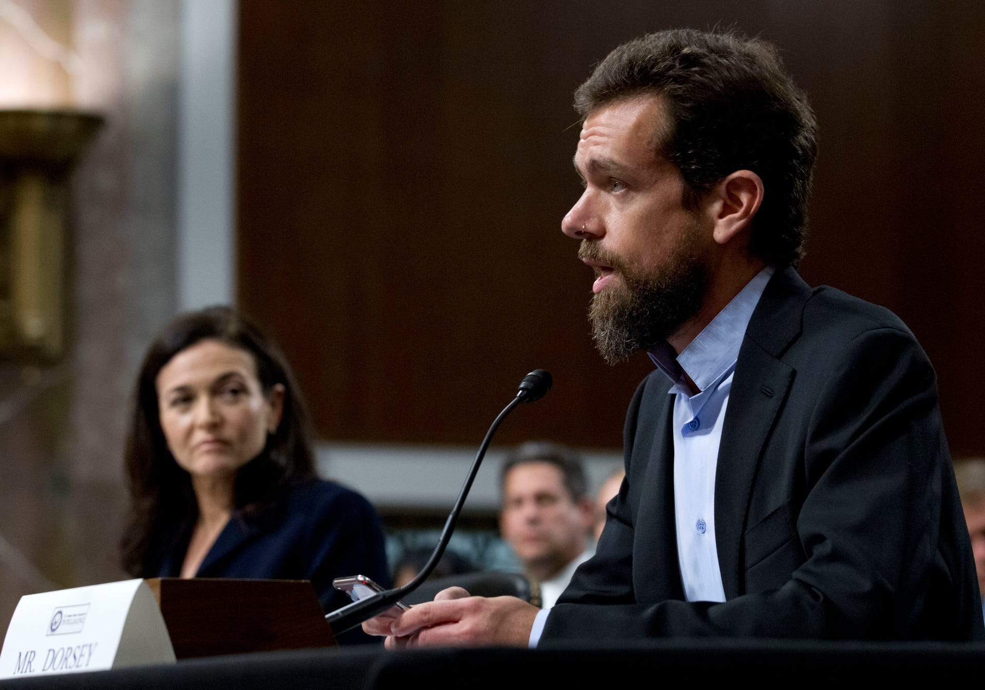 Facebook and Twitter execs testify at Senate hearing