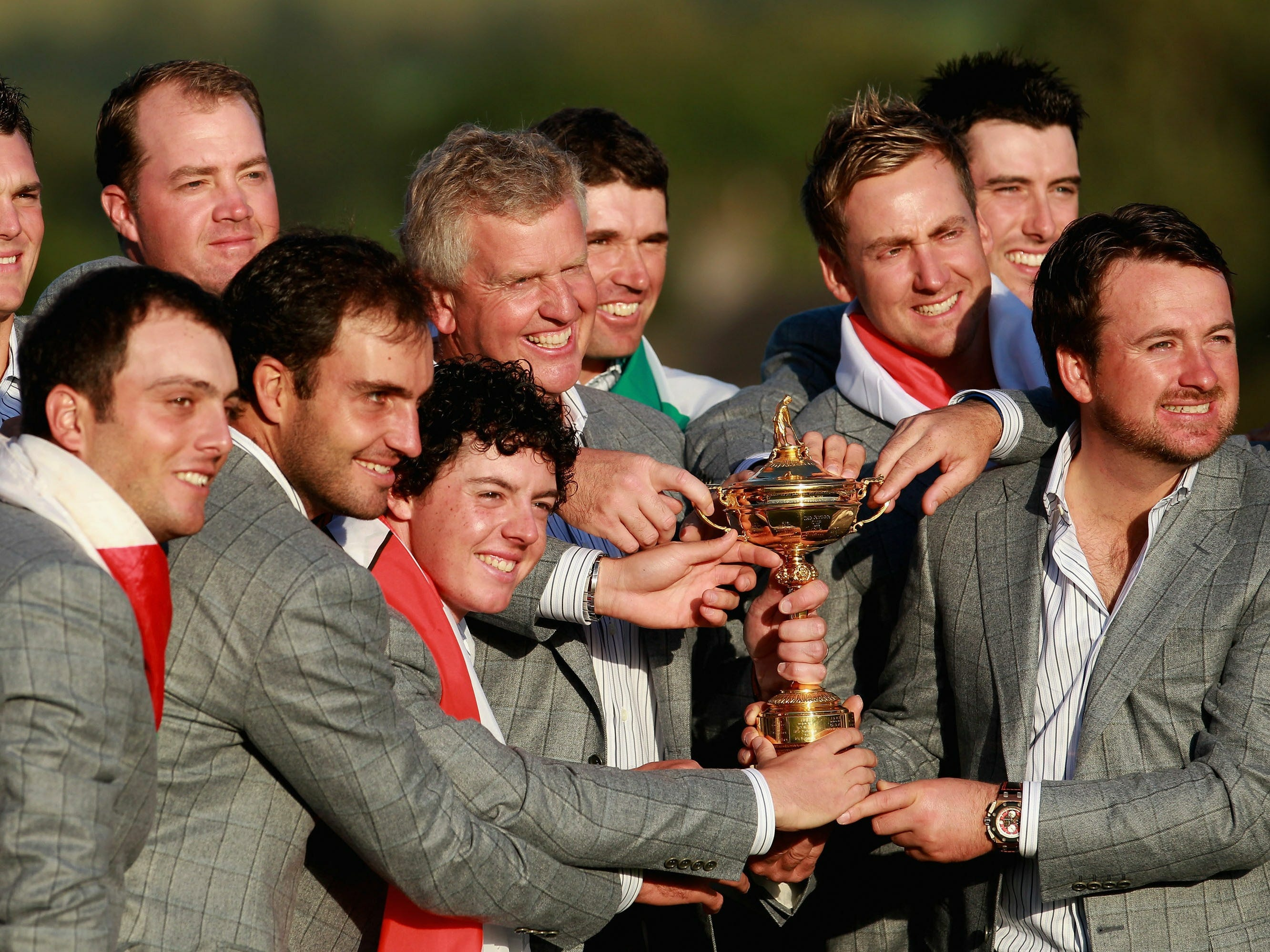 Team Europe, 2010: Captain Colin Montgomerie poses with the Ryder Cup and his team following their 14.5 - 13.5 victory over the USA.