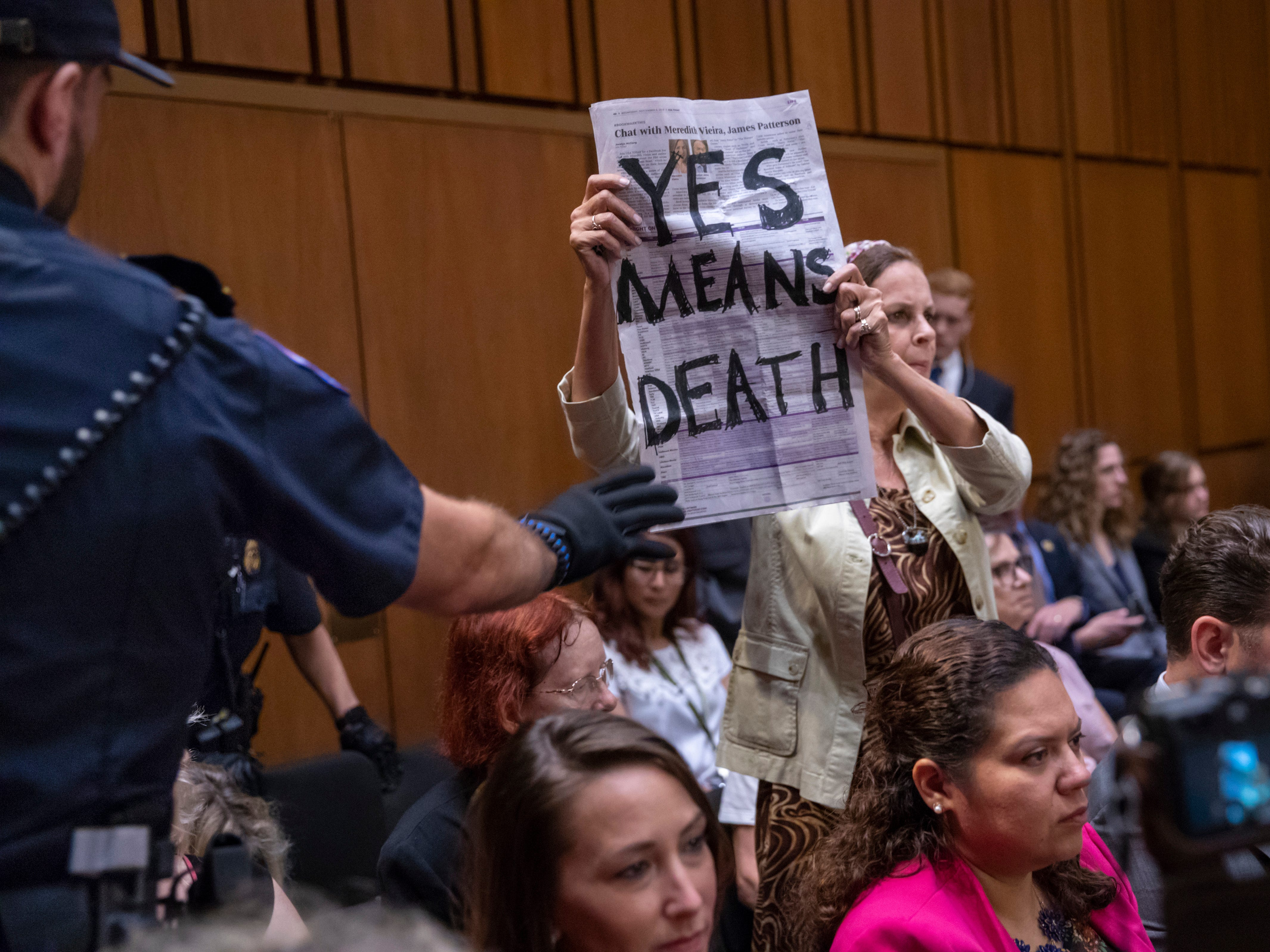 A protester disrupts the proceedings as President Donald Trump's Supreme Court nominee, Brett Kavanaugh, appears before the Senate Judiciary Committee for the second day of his confirmation hearing, on Capitol Hill in Washington, Wednesday, Sept. 5, 2018. (AP Photo/J. Scott Applewhite) ORG XMIT: DCSA103