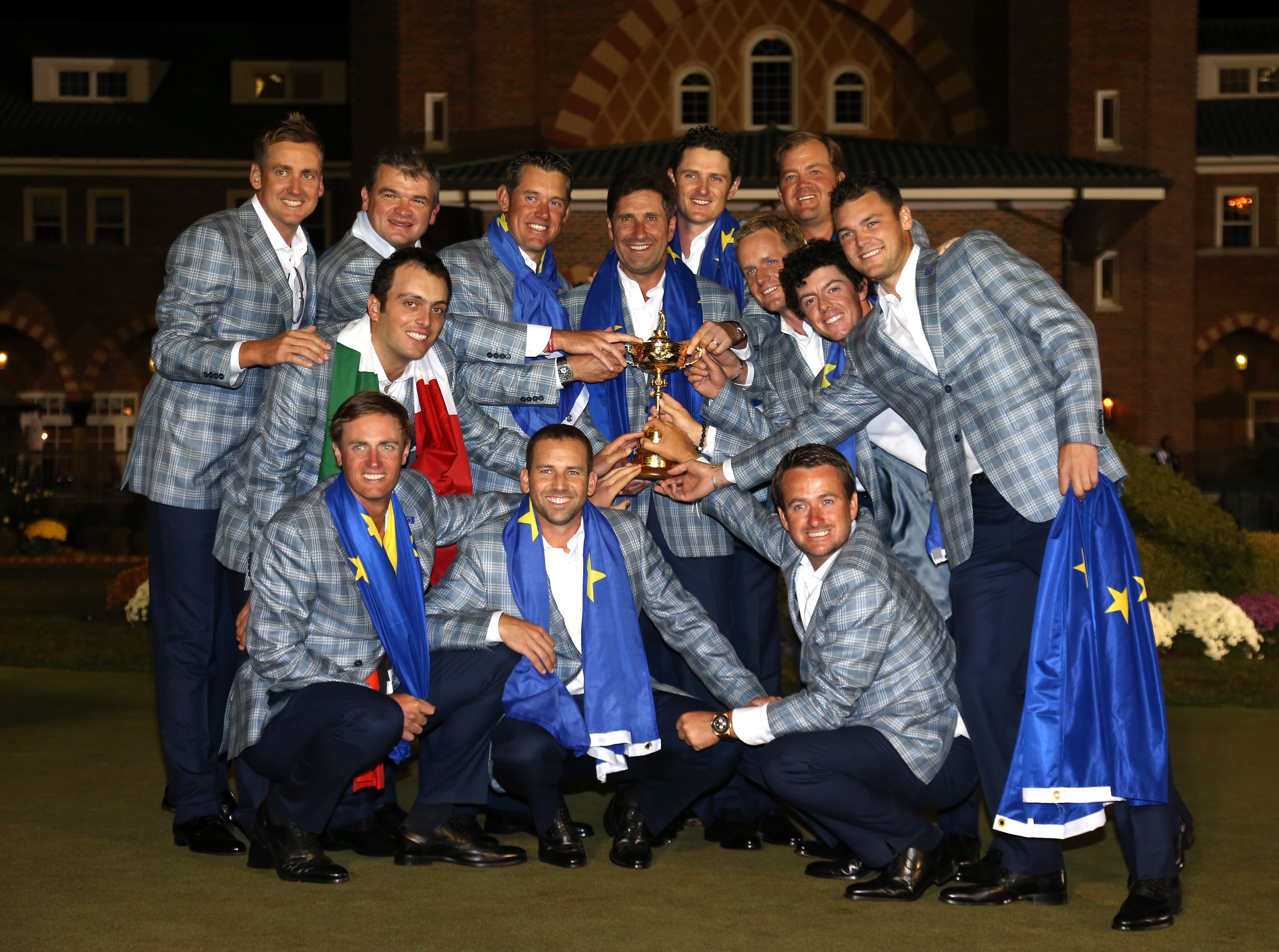 Team Europe, 2012: The team poses with the Ryder Cup after defeating the USA 14.5 - 13.5.