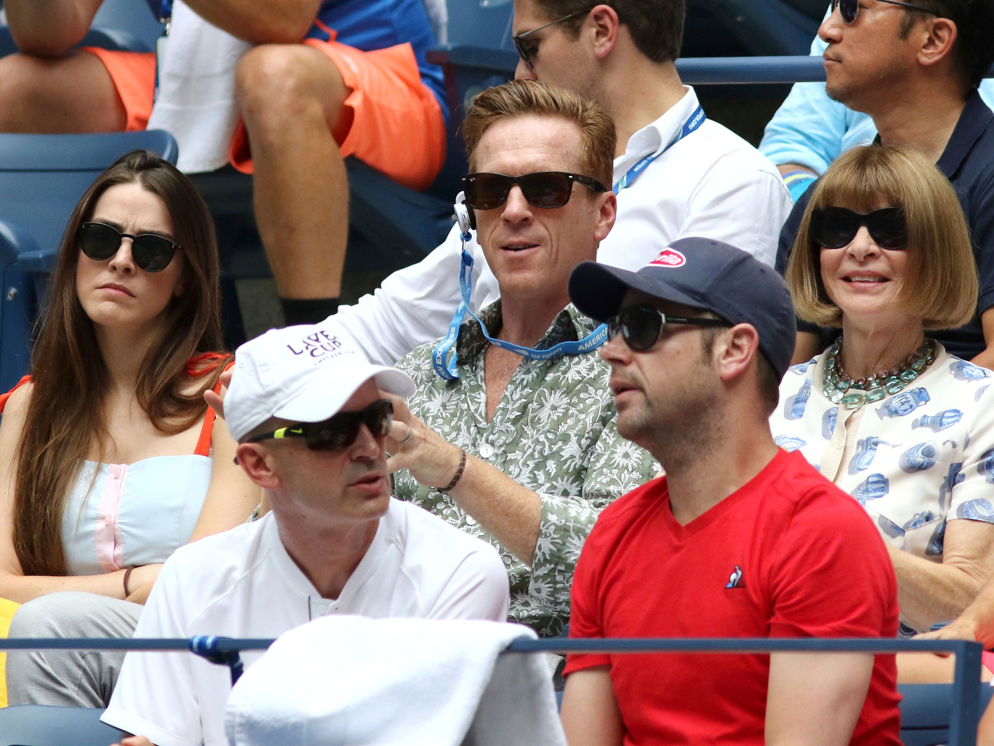 Bee Shaffer, from top left, Damian Lewis and Anna Wintour attend the second round of the US Open.