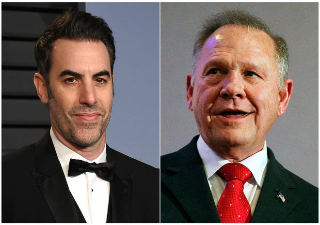 """Former U.S. Senate candidate Roy Moore, right, was tricked into appearing on Sacha Baron Cohen's show, """"Who Is America?"""" Moore is suing Cohen for defamation over his treatment on the show."""