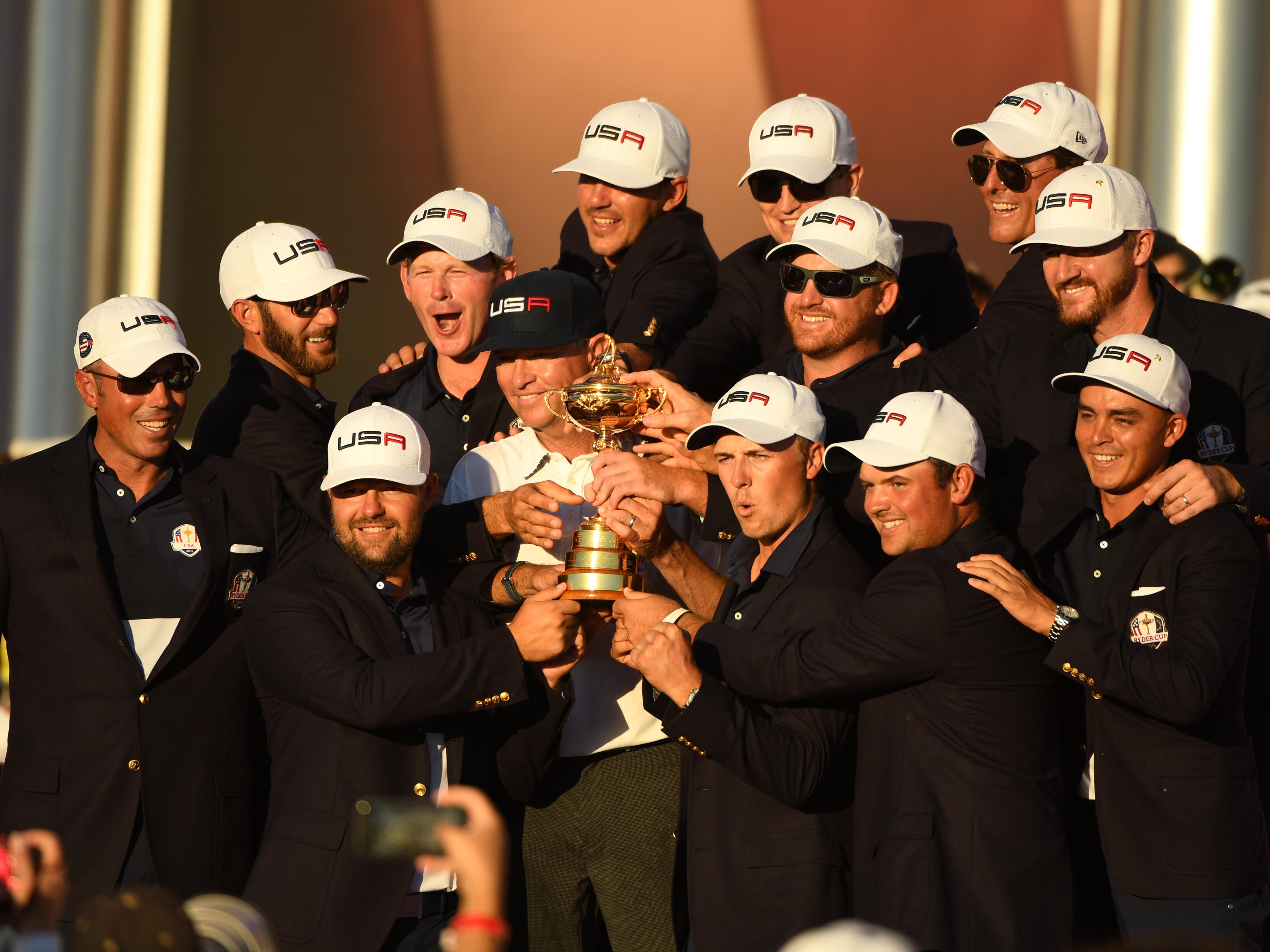 Team USA, 2016; The USA Ryder Cup team poses for a picture during the closing ceremonies after defeating Europe 17-11.