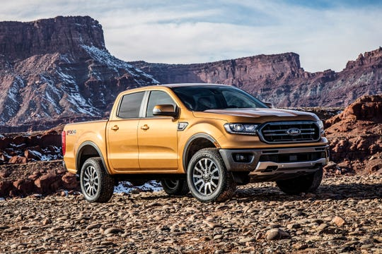 This undated photo provided by Ford Motor Co. shows the 2019 Ford Ranger, which returns to the midsize truck segment after a long absence. (Courtesy of Ford Motor Co. via AP)