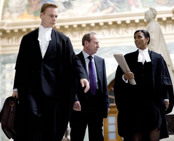 LAW & ORDER: UK Senior Crown Prosecutor James Steel (Ben Daniels) Director of CPS George Castle (Bill Paterson) and Junior Crown Prosecutor Alesha Phillips (Freema Agyeman).