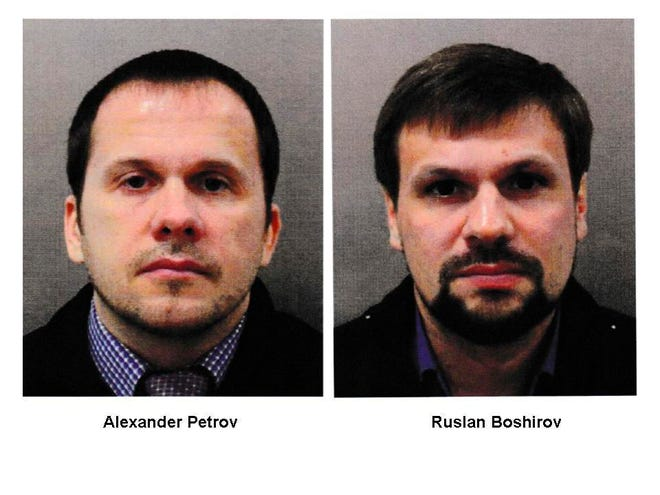 This combination photo made available by the Metropolitan Police on Sept. 5, 2018, shows Alexander Petrov, left, and Ruslan Boshirov. British prosecutors have charged two Russian men, Alexander Petrov and Ruslan Boshirov, with the nerve agent poisoning of ex-spy Sergei Skripal and his daughter Yulia in the English city of Salisbury.