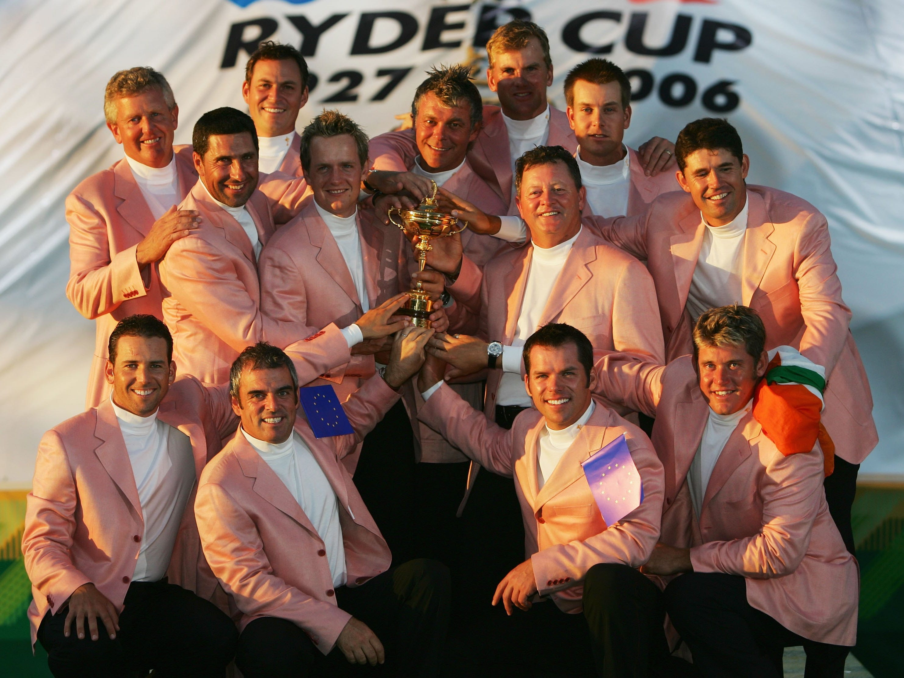 Team Europe, 2006: The team poses with the Ryder Cup trophy during the closing ceremony after routing Team USA 18.5 - 9.5.