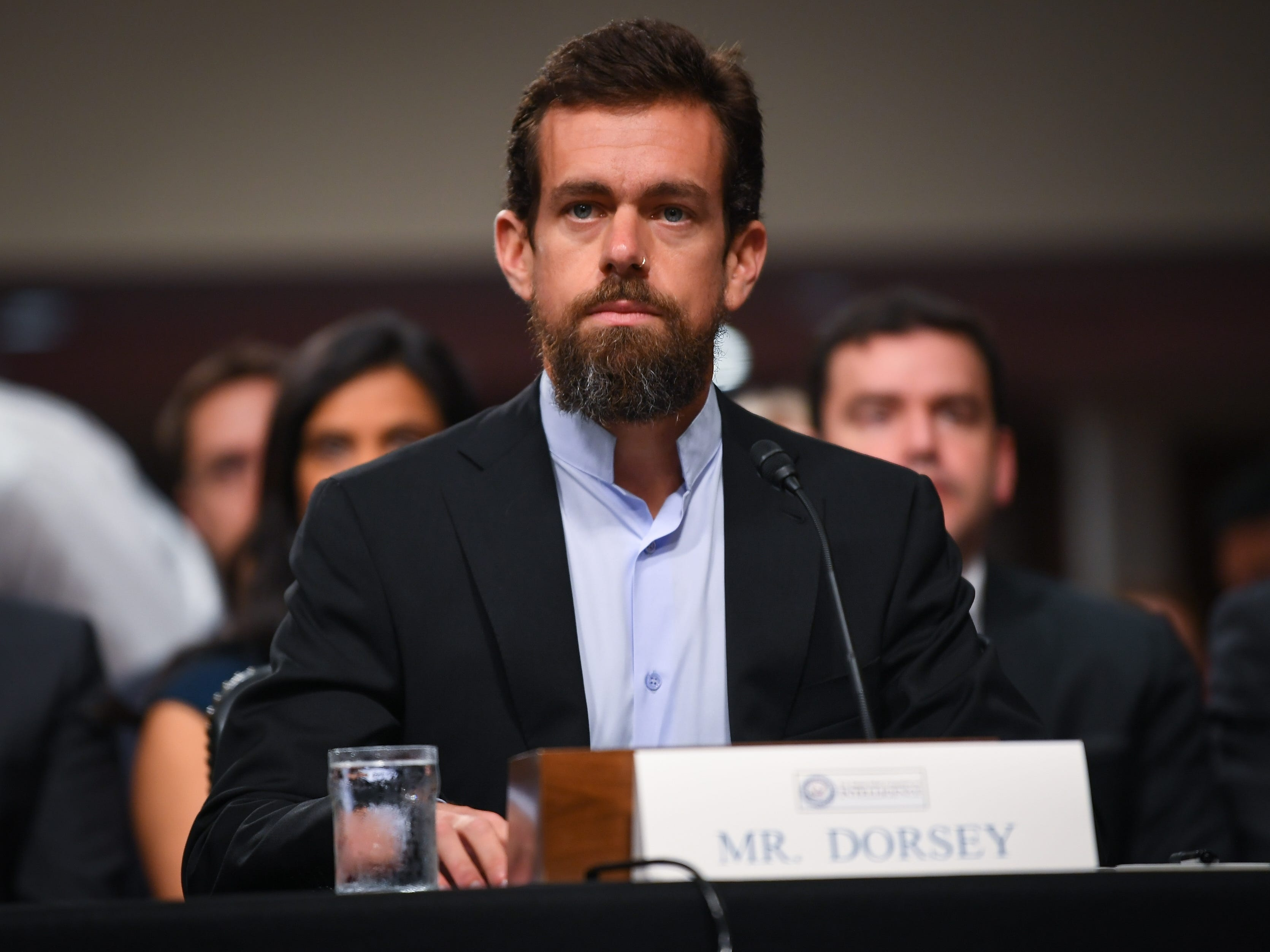 9/5/18 9:34:17 AM -- Washington, DC, U.S.A  -- Jack Dorsey, chief executive officer of Twitter Inc., testifies before the Senate Select Committee on Intelligence during a hearing on Foreign Influence Operations' Use of Social Media Platforms on Sept. 5, 2018 in Washington.  --    Photo by Jack Gruber, USA TODAY Staff ORG XMIT:  JG 137441 Social Media Hea 9/5/ (Via OlyDrop)