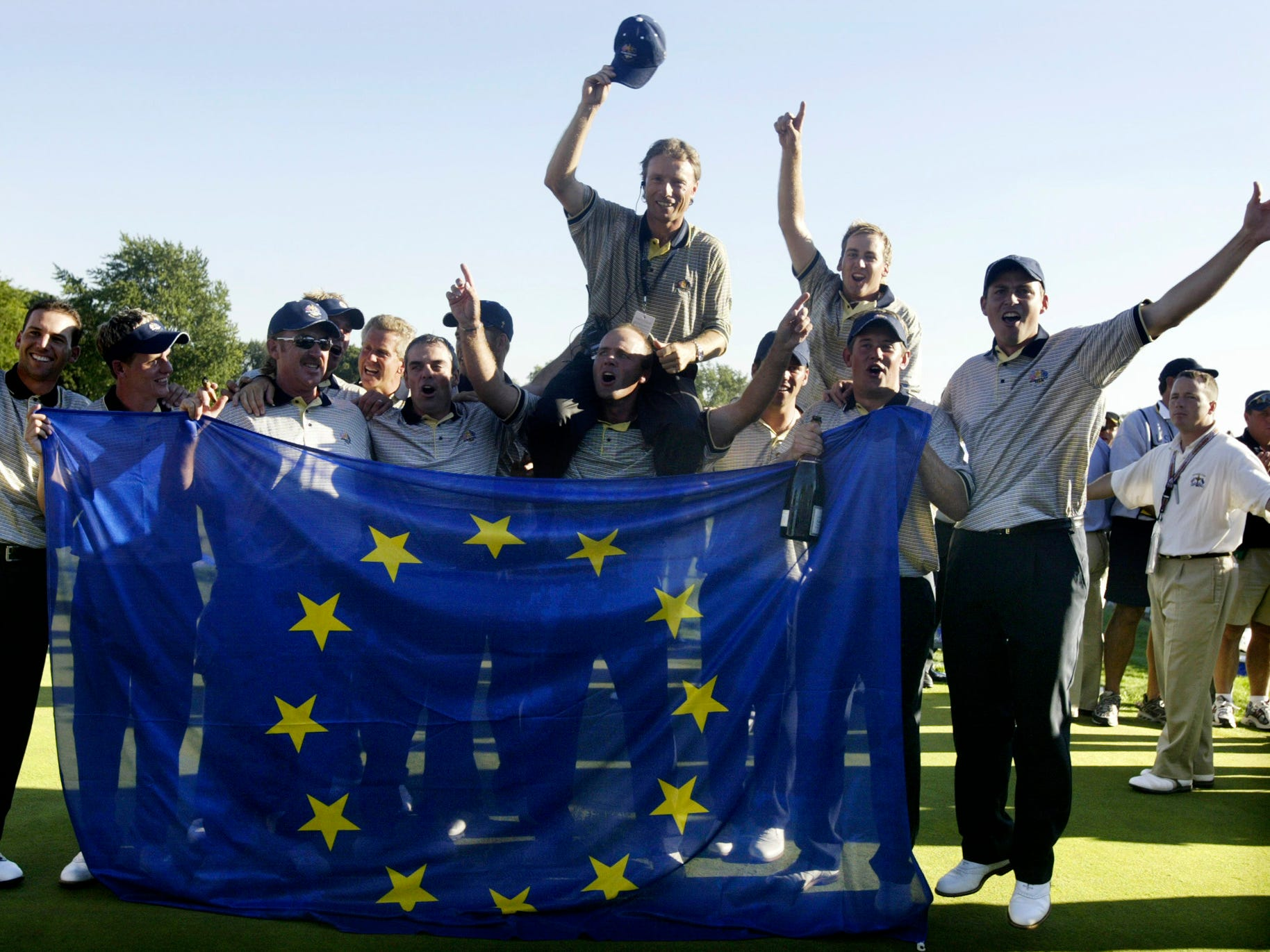 Team Europe, 2004: The European team celebrates after their 18.5-9.5 victory over the United States to retain the Ryder Cup