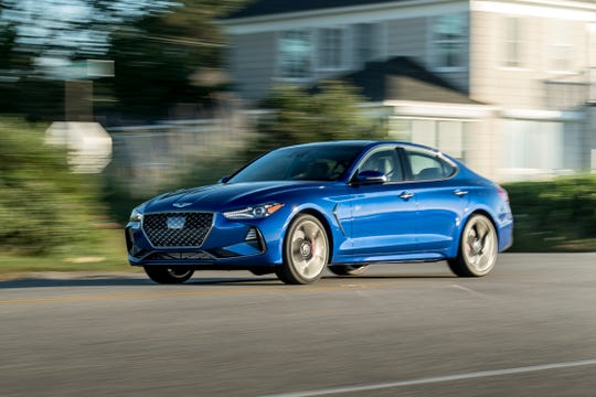 This photo provided by Genesis Motor America shows the 2019 Genesis G70, the newest entry into the competitive field of sport luxury compacts dominated by Audi, BMW and Lexus. (James Lipman/Genesis Motor America via AP)