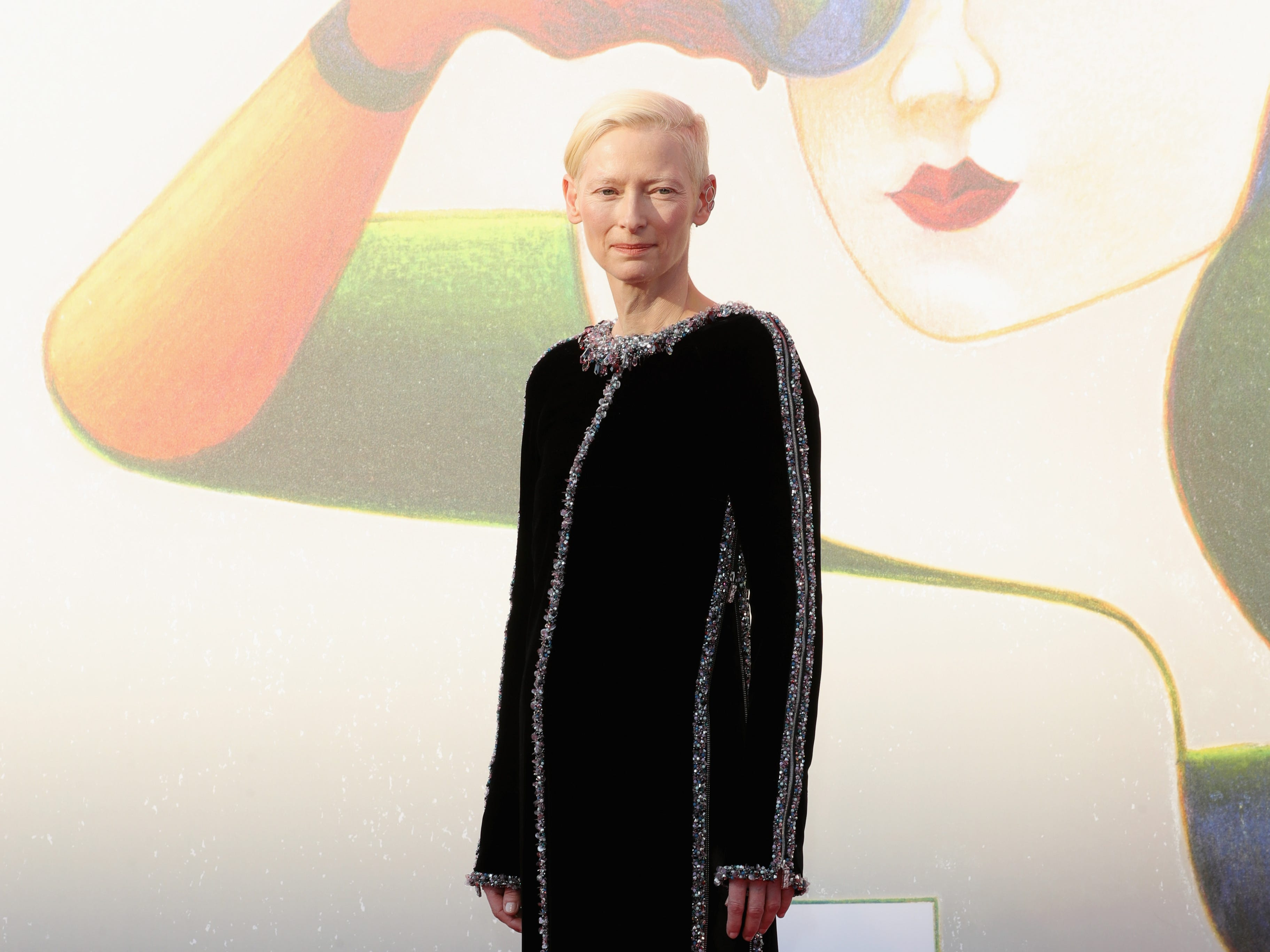 "Tilda Swinton walks the red carpet ahead of a screening for ""L'Annee Derniere a Marienbad"" screening during the 75th Venice Film Festival."