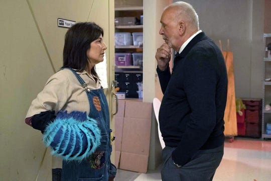 "Catherine Keener as Deirdre and Frank Langella as Seb in ""Kidding."""