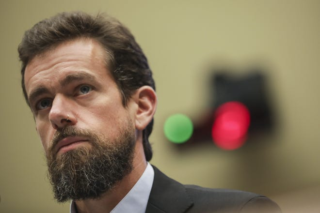 WASHINGTON, DC - SEPTEMBER 5: Twitter chief executive officer Jack Dorsey testifies during a House Committee on Energy and Commerce hearing about Twitter's transparency and accountability, on Capitol Hill, September 5, 2018 in Washington, DC. Earlier in the day, Dorsey faced questions from the Senate Intelligence Committee about how foreign operatives use their platforms in attempts to influence and manipulate public opinion. (Photo by Drew Angerer/Getty Images) ORG XMIT: 775221814 ORIG FILE ID: 1027231376
