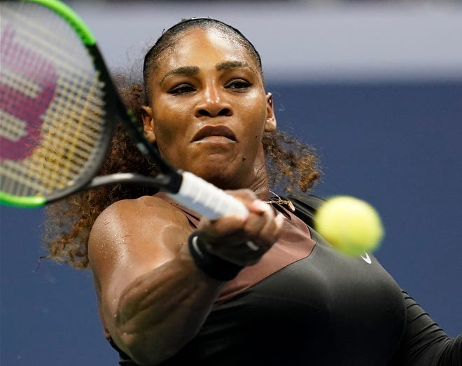 Serena Williams hits to Karolina Pliskova in their quarterfinal match.
