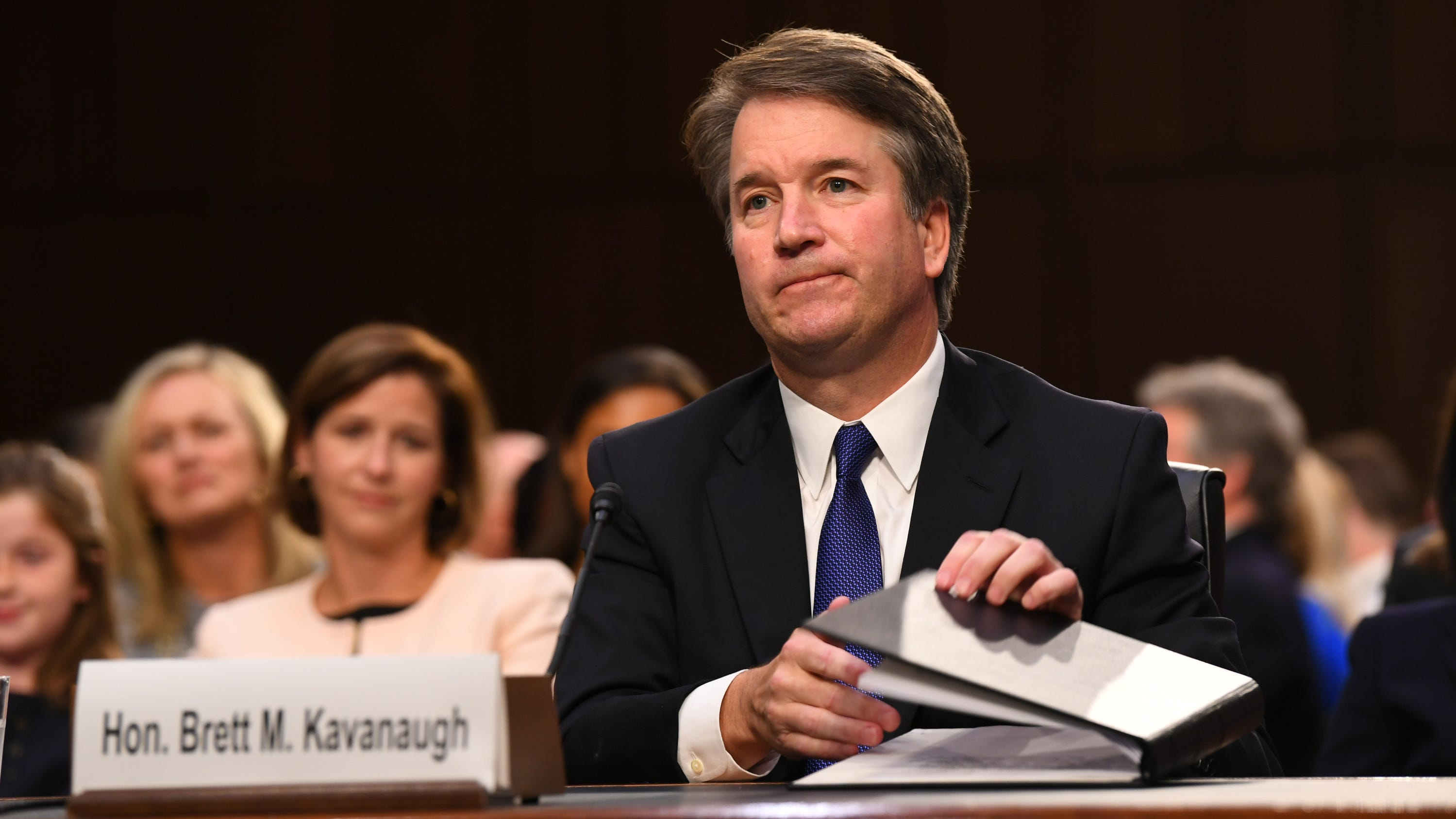 9/4/18 4:53:46 PM -- Washington, DC, U.S.A  -- Supreme Court Associate Justice nominee Brett Kavanaugh appears before the Senate Judiciary Committee during his confirmation hearing on Sept. 4, 2018 in Washington. Kavanaugh was nominated by President Donald Trump to replace Justice Anthony Kennedy,who retired from the Supreme Court in July.  --    Photo by Jack Gruber, USA TODAY Staff ORG XMIT:  JG 137433 Kavanaugh Confir 9/4/2018 (Via OlyDrop)