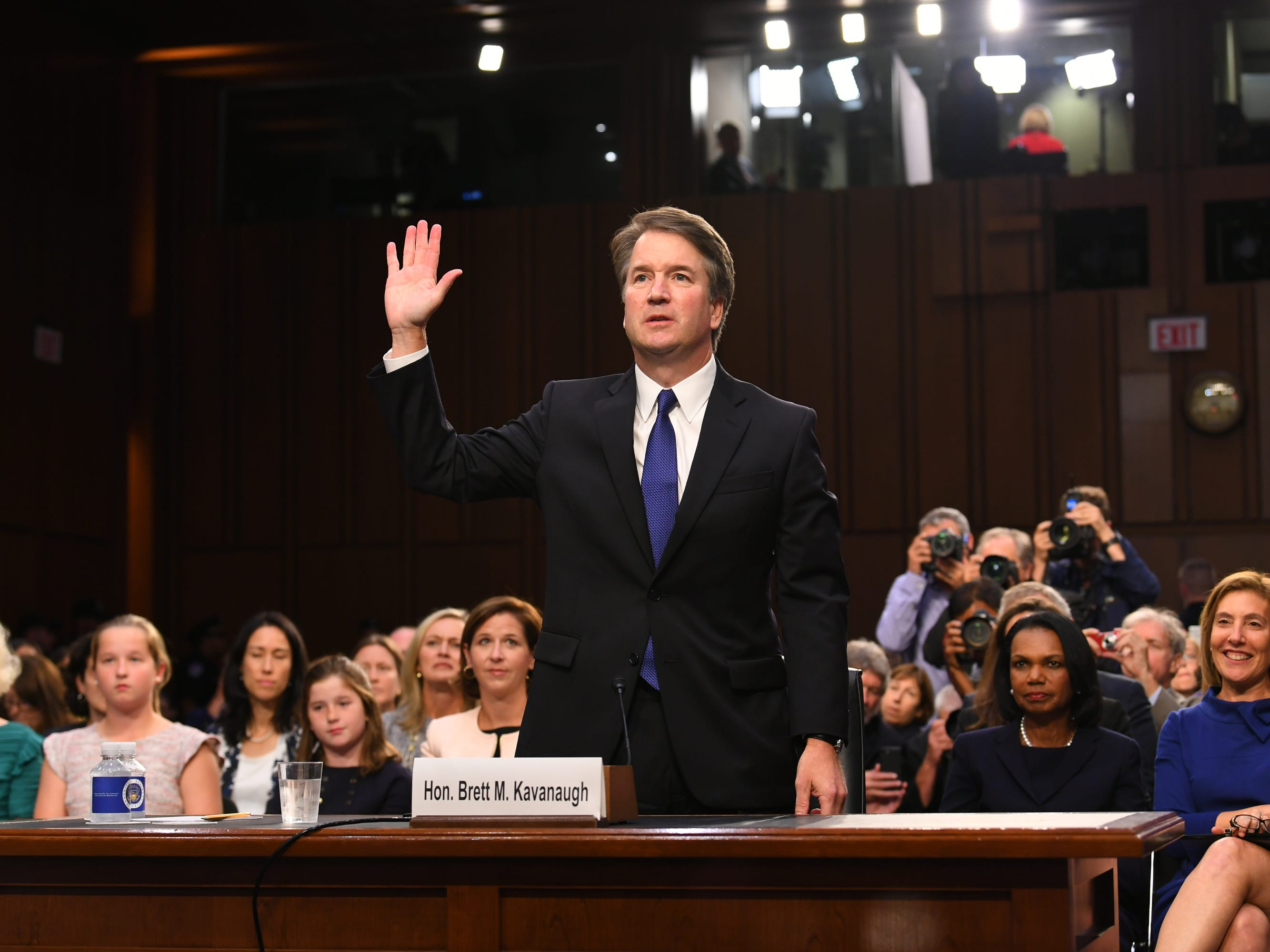 9/4/18 4:37:12 PM -- Washington, DC, U.S.A  -- Supreme Court Associate Justice nominee Brett Kavanaugh is sworn in as he appears before the Senate Judiciary Committee during his confirmation hearing on Sept. 4, 2018 in Washington. Kavanaugh was nominated by President Donald Trump to replace Justice Anthony Kennedy,who retired from the Supreme Court in July.  --    Photo by Jack Gruber, USA TODAY Staff ORG XMIT:  JG 137433 Kavanaugh Confir 9/4/2018 (Via OlyDrop)