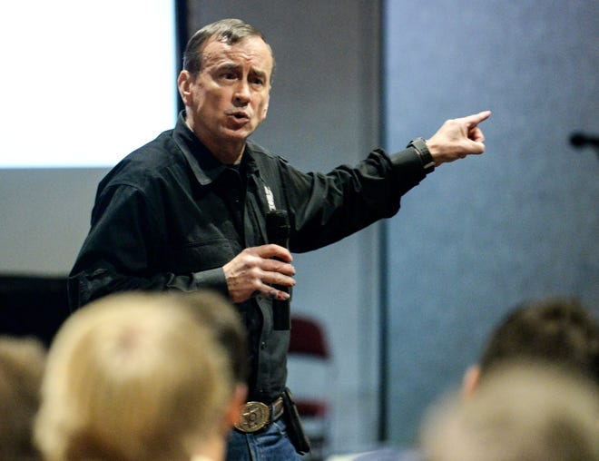 Army Veteran Dave Grossman, director of the Illinois-based Killology Research Group, pictured here in a 2018 training seminar, was scheduled to speak in Novi, but after critics protested, the presentation was canceled.