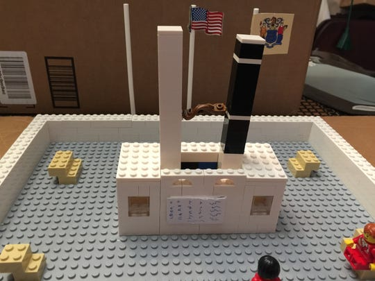 A Lego model of how the 9/11 EMS First Responders Memorial in Keansburg would look.