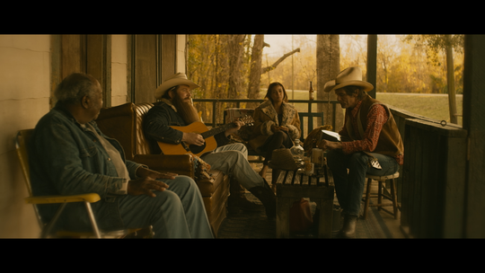 "Ben Dickey as Blaze Foley, second from left, and Charlie Sexton as Townes Van Zant, right, in Ethan Hawke's ""Blaze,"" an IFC Films release."