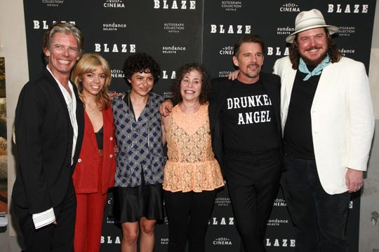 "Charlie Sexton, from left, Alynda Lee Segarra, Alia Shawkat, Sybil Rosen, Ethan Hawke and Ben Dickey attend a special screening of ""Blaze"" at the IFC Center on Wednesday, Sept. 5, in New York."