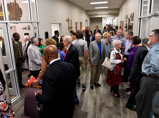 Visitors attend an open house at the Hardin-Simmons University physical therapy building Thursday. The building is the former AbLabs at 1325 Pine St. The building, which had been vacant since 2015, was sold to HSU last year.