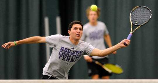 Abilene Christian's Hans Hach returns a shot at the net during his doubles match with partner, Nicklas Wingord, against Texas-Permian Basin in 2013 at ACU.