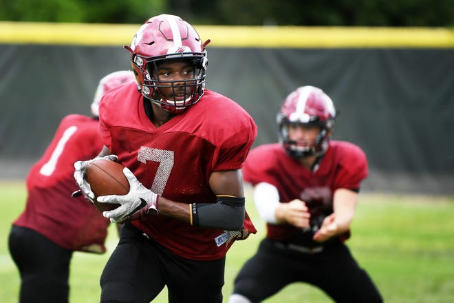Asheville wide receiver Trevon Robinson practices with his team September 5, 2018.